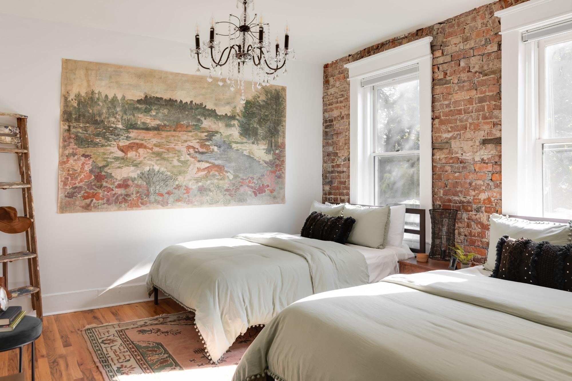 Historic apartment brick bedroom